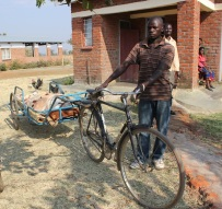 A patient arriving at the clinic on one of our bicycle ambulances