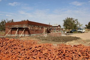 Bricks provided by the chiefs for construction at the clinic