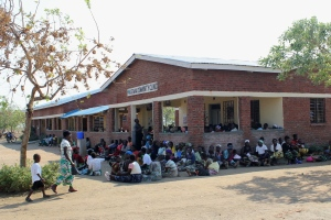 Patients gathered at the clinic in the morning